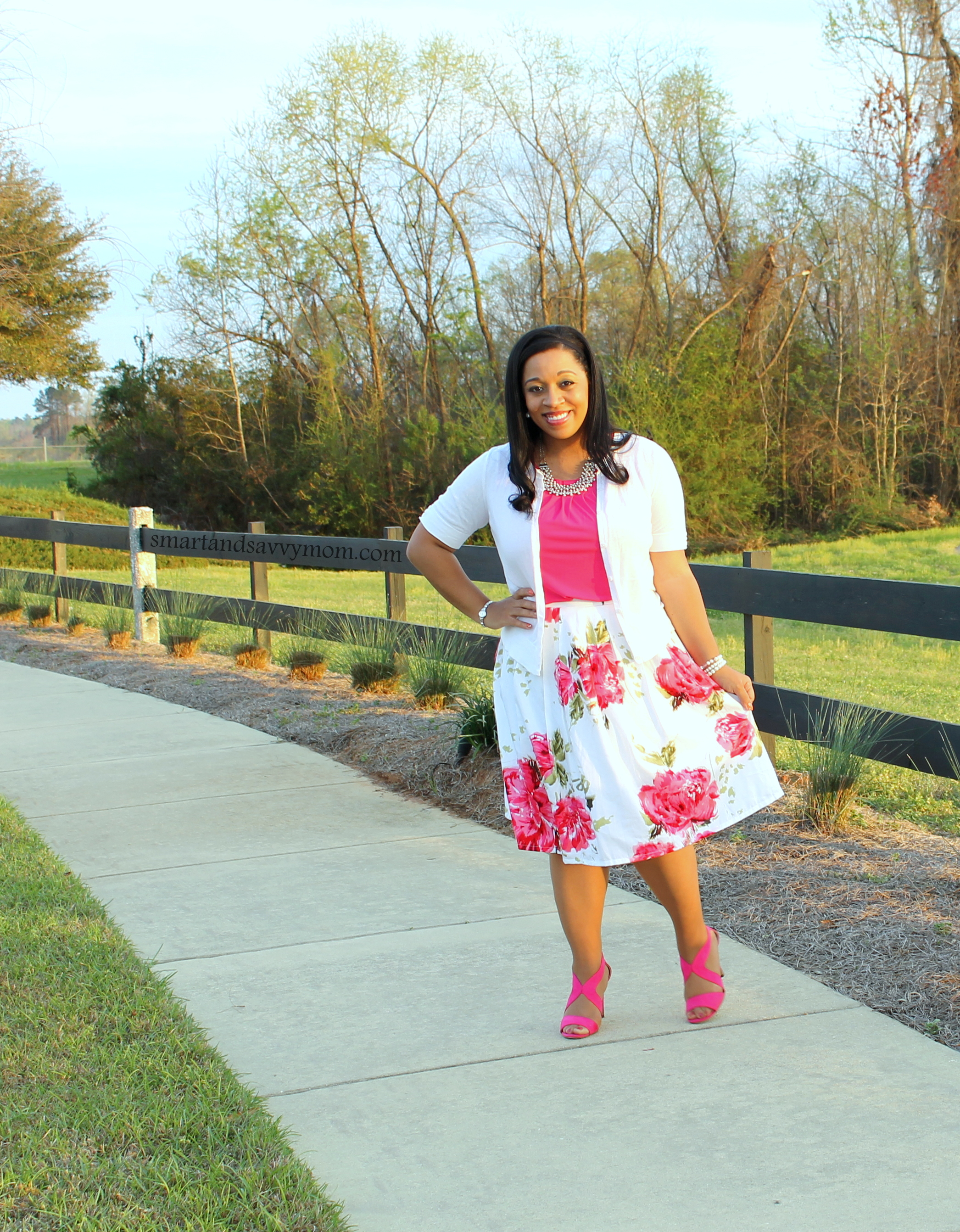 full and pleated white and pink floral skirt, modest outfit idea
