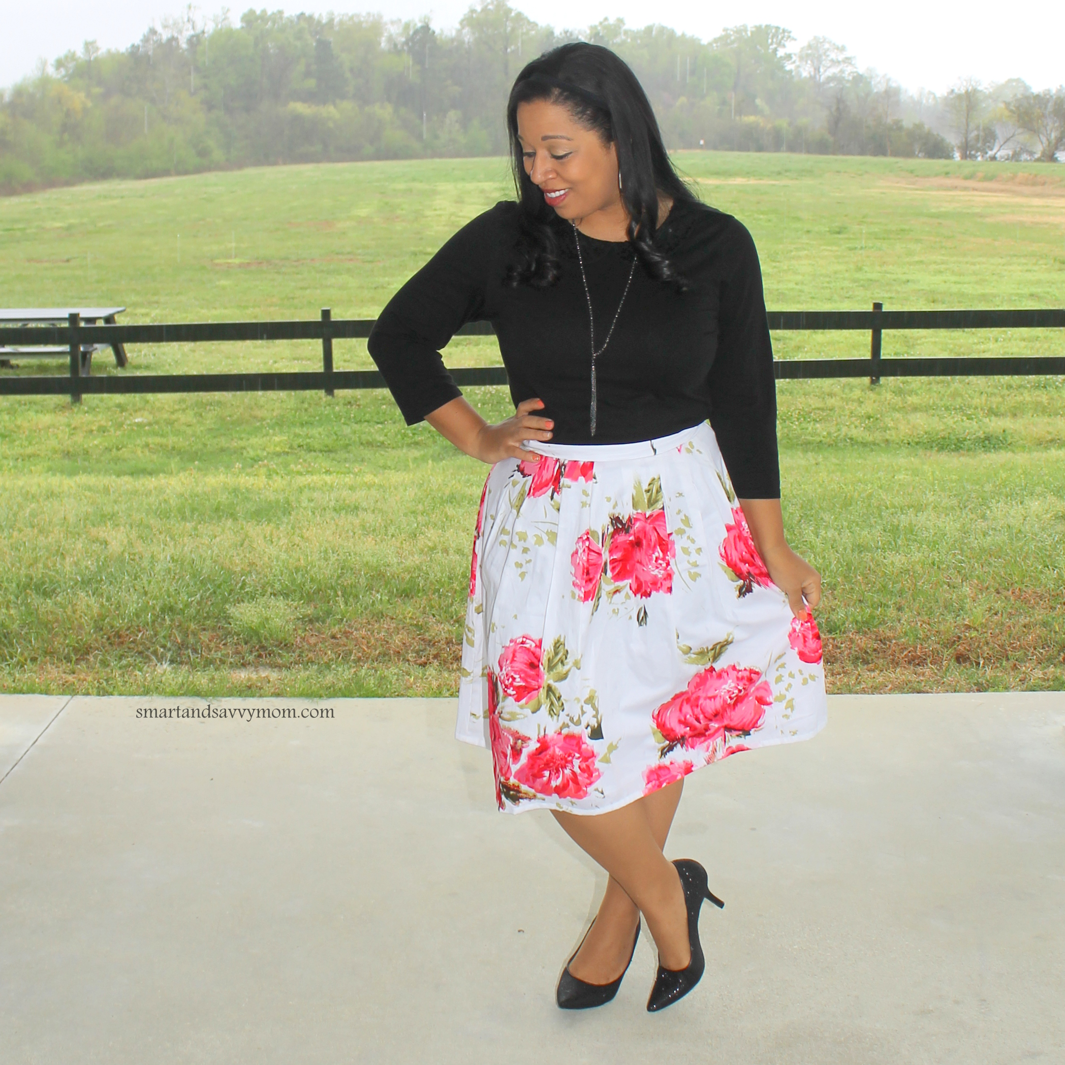 black top with pink and white floral skirt modest outfit idea