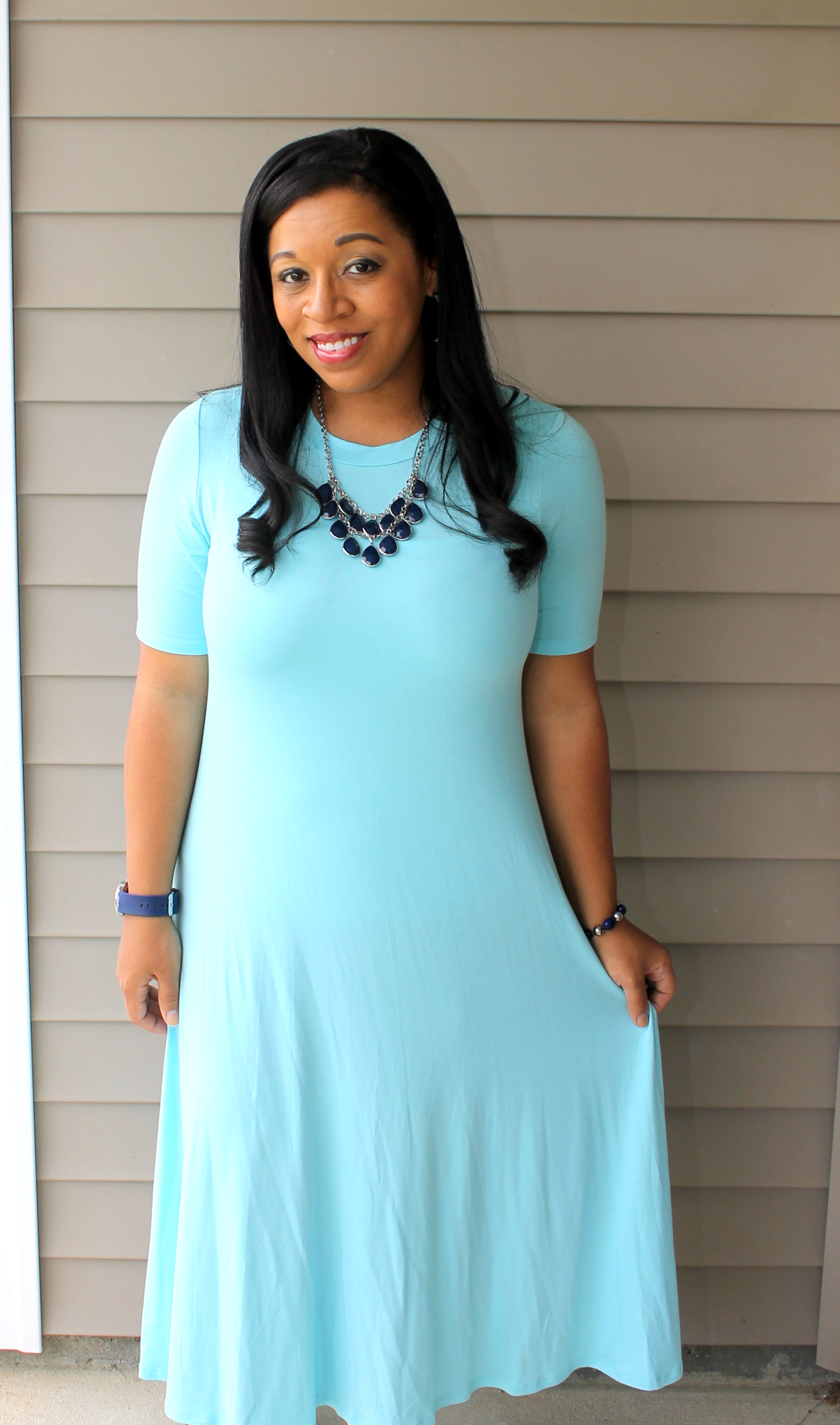 modest swing dress in the perfect shade of pastel blue. Great for spring