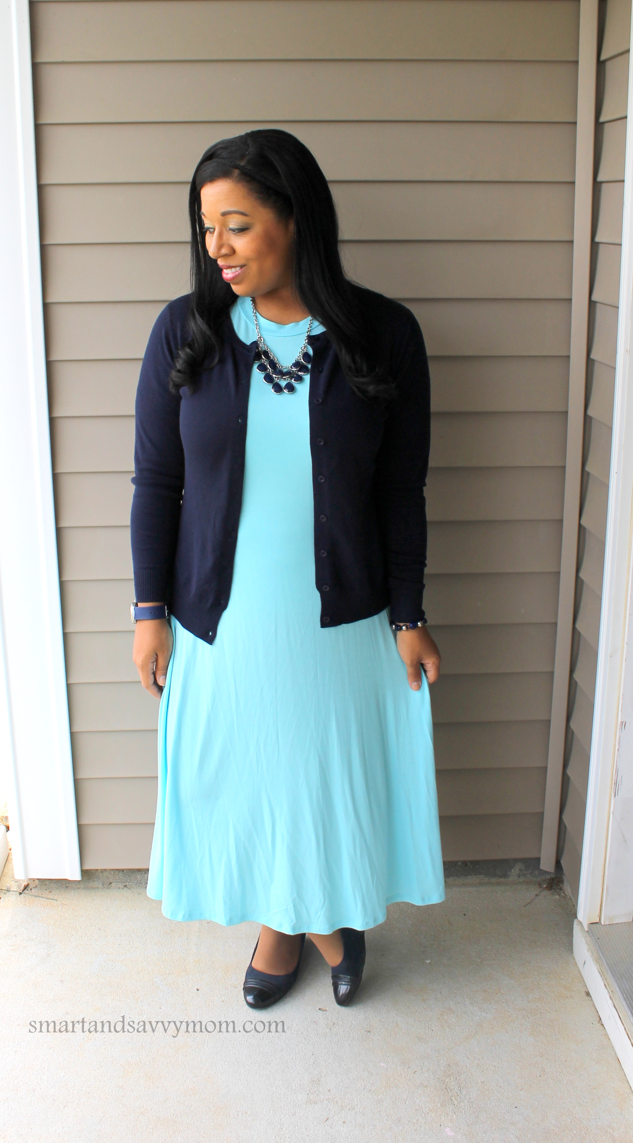 layering my pastel blue spring swing dress with navy blue cardigan and bib necklace. Modest outfit idea