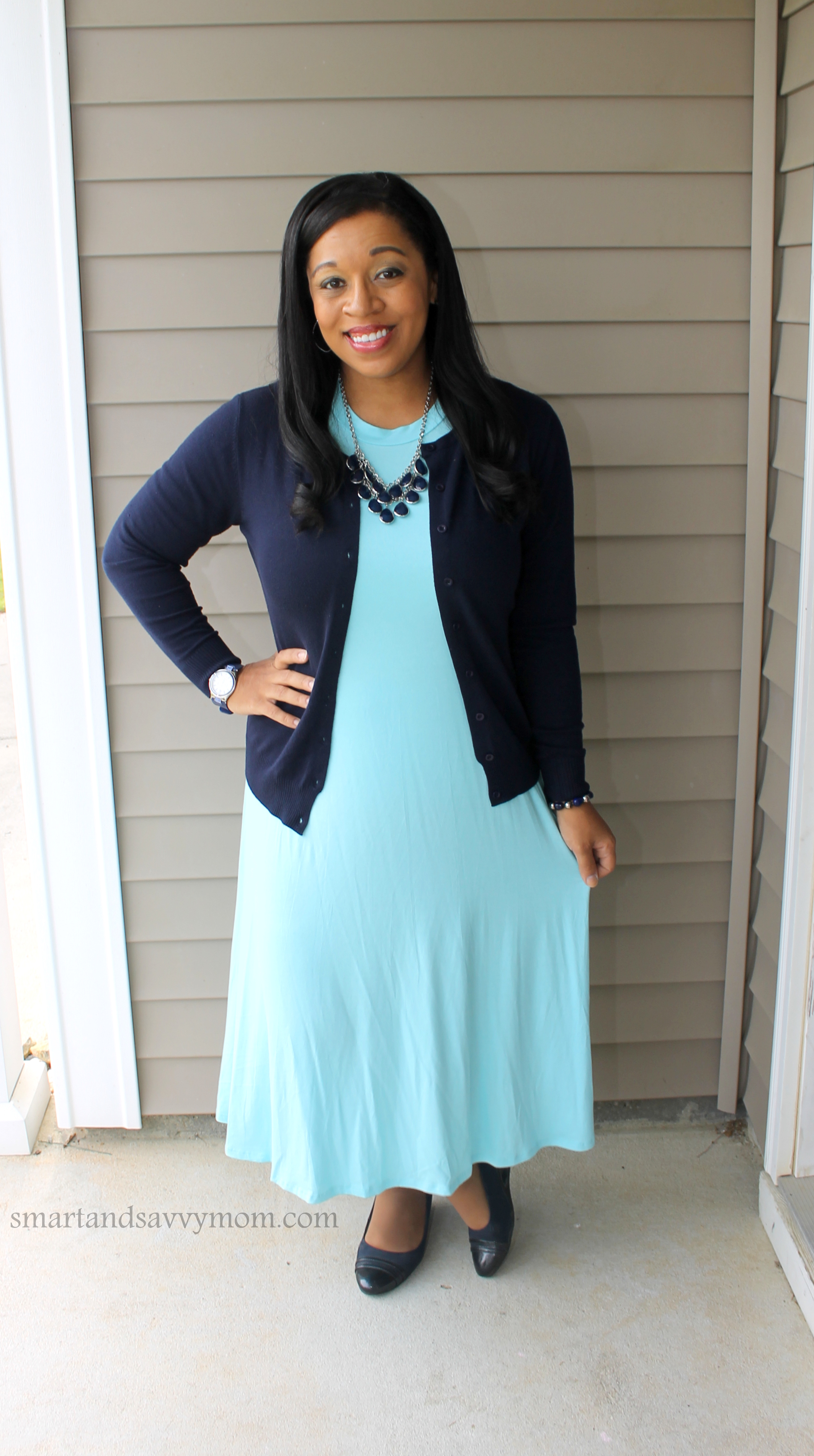 navy blue and pastel blue modest swing dress spring outfit idea. Teacher outfit idea