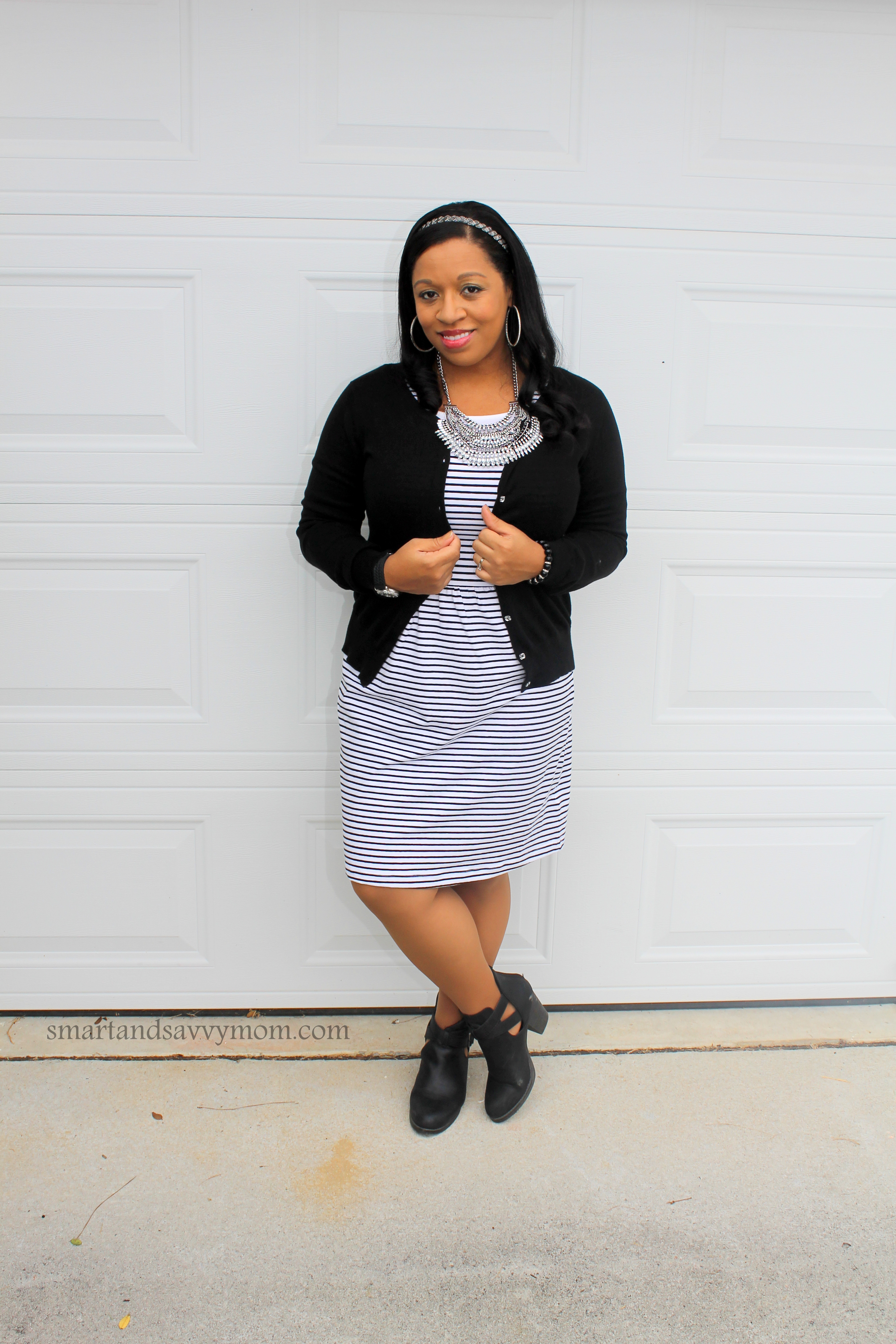 old navy black and white striped dress with black cardigan easy modest outfit