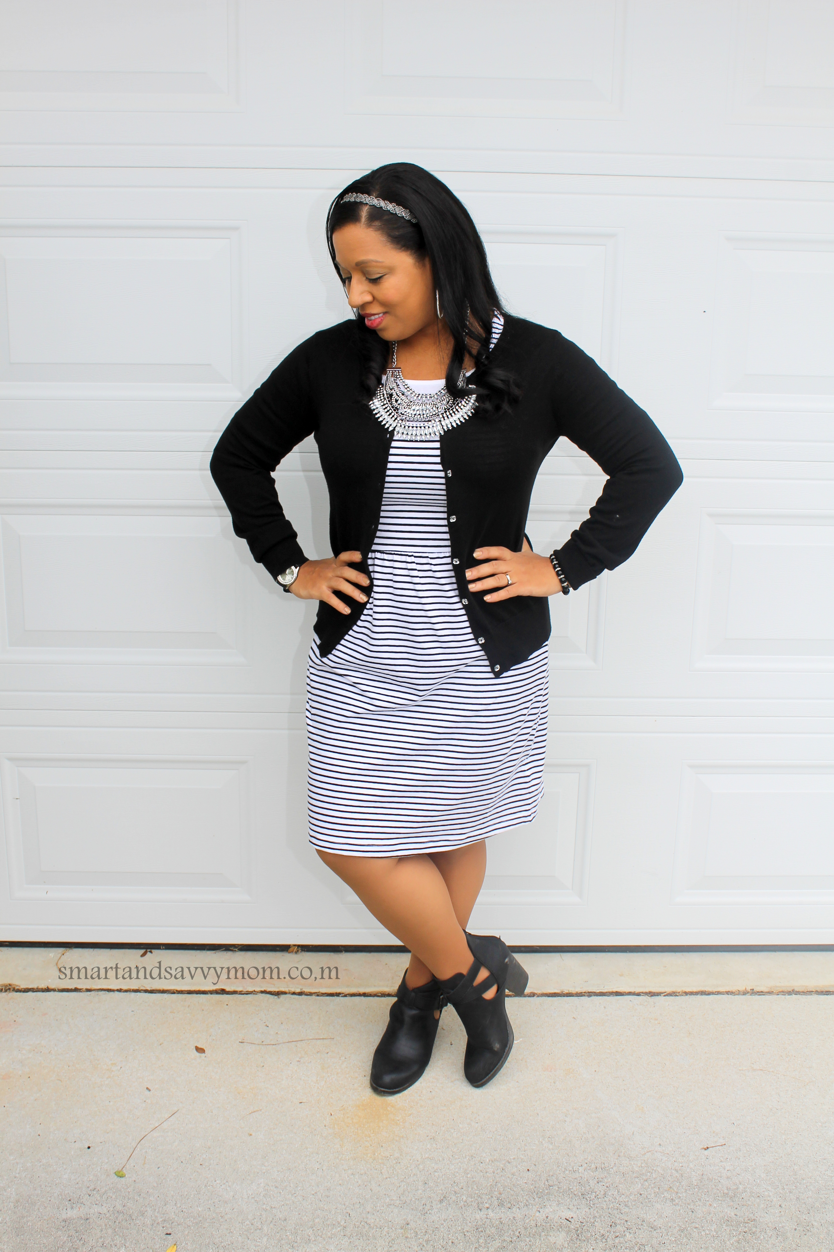 black and white striped easy modest outfit idea
