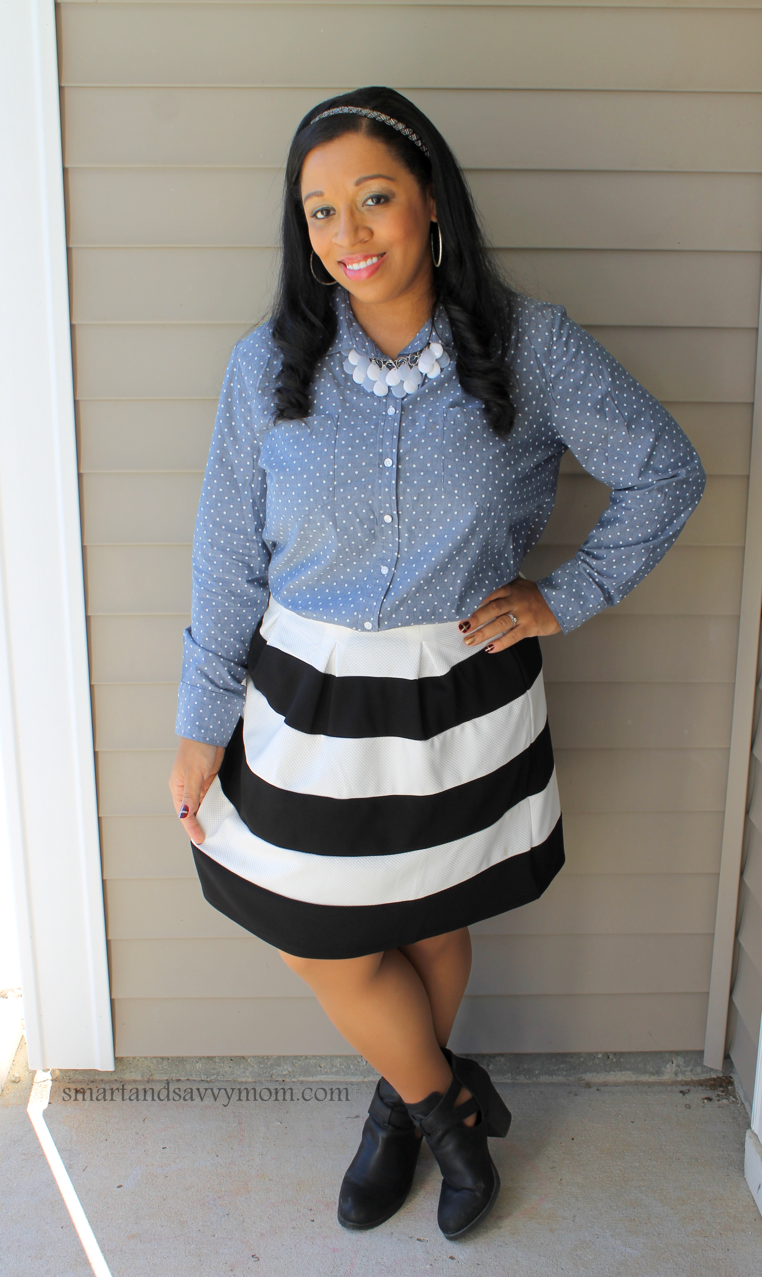 polka dot chambray shirt with black and white striped skirt, easy modest outfit idea