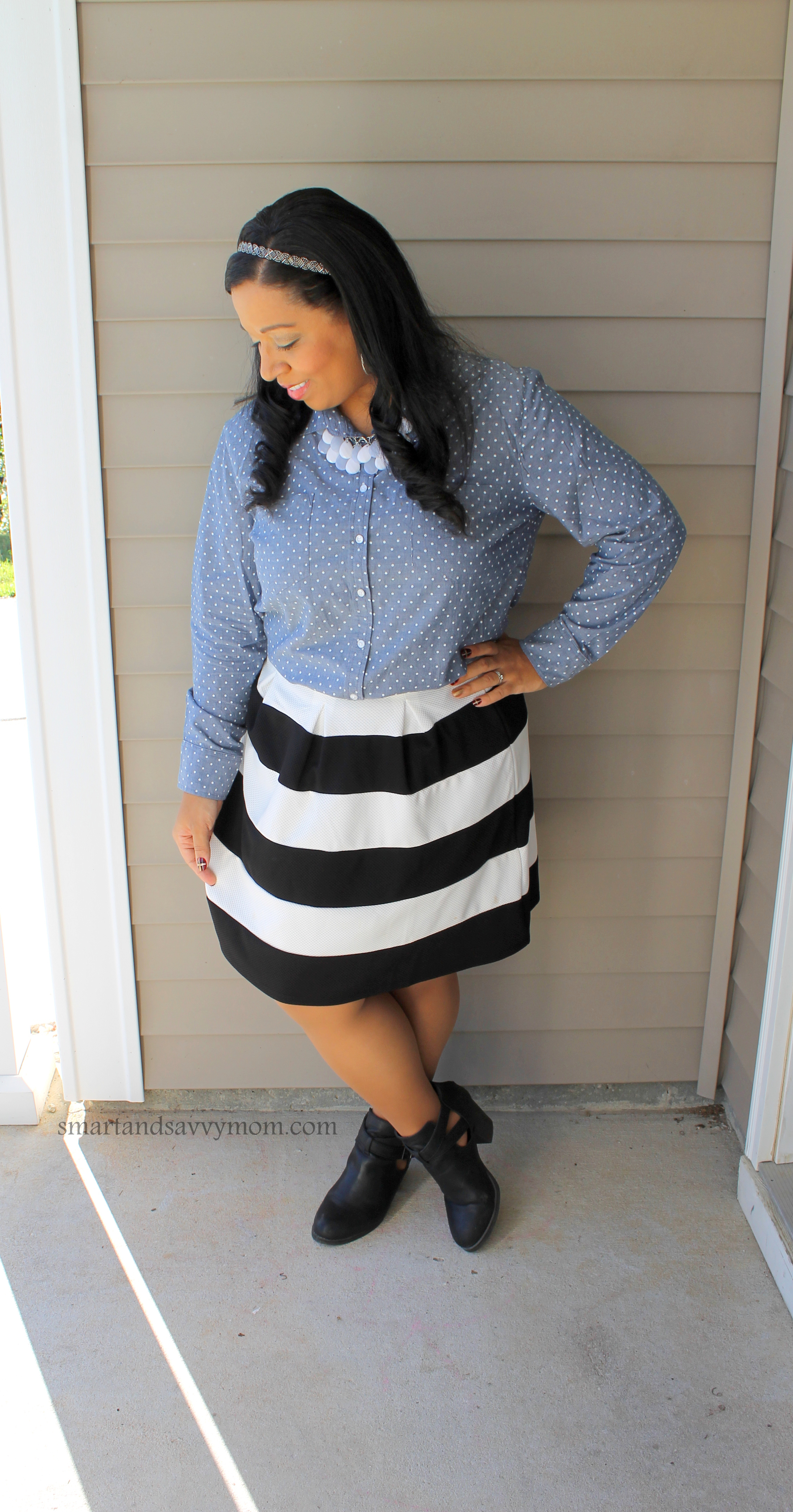 polka dot chambray with black and white stripe a line skirt, modest outfit idea
