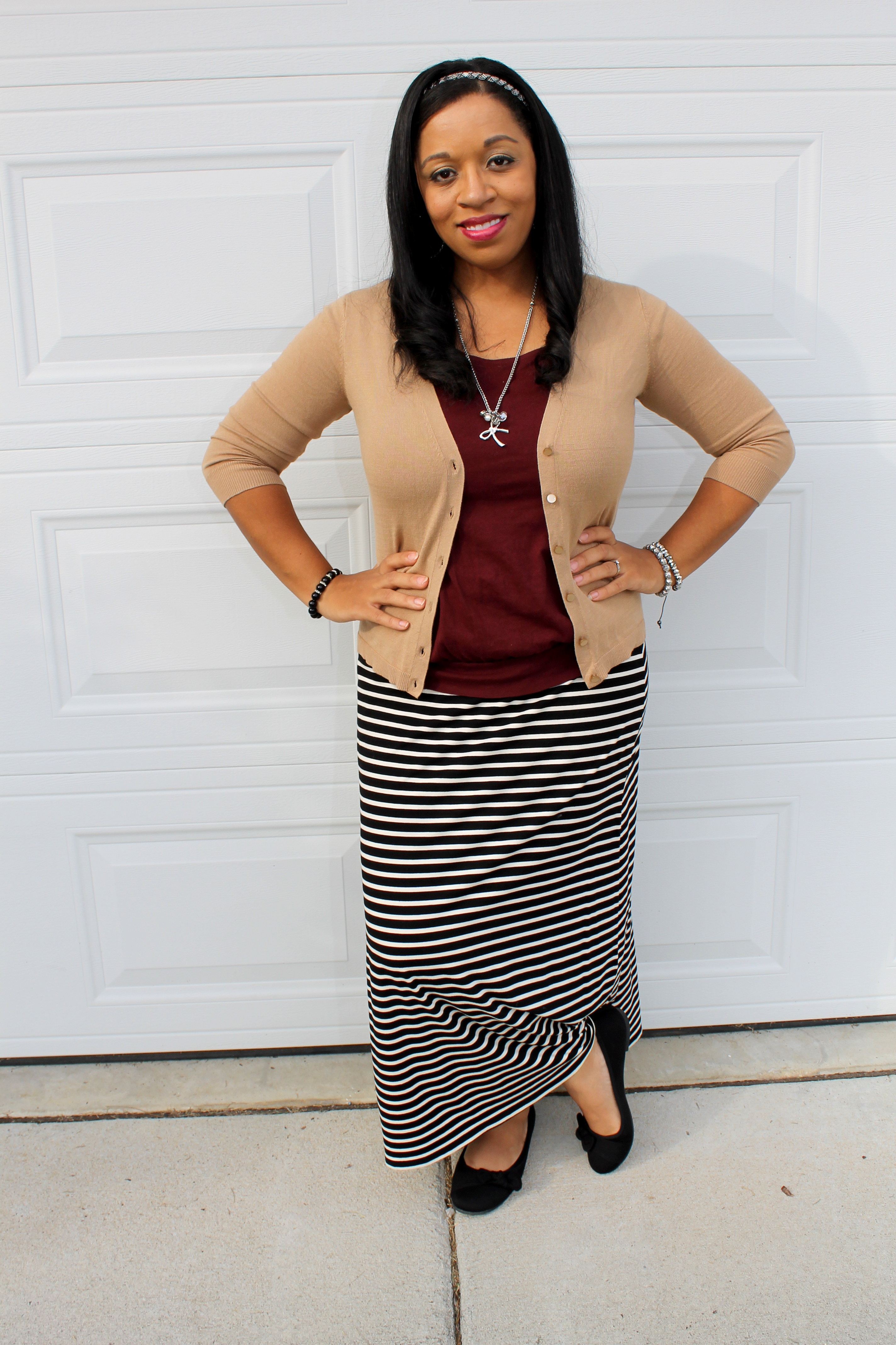 easy, casual, modest. burgundy and camel with black and white