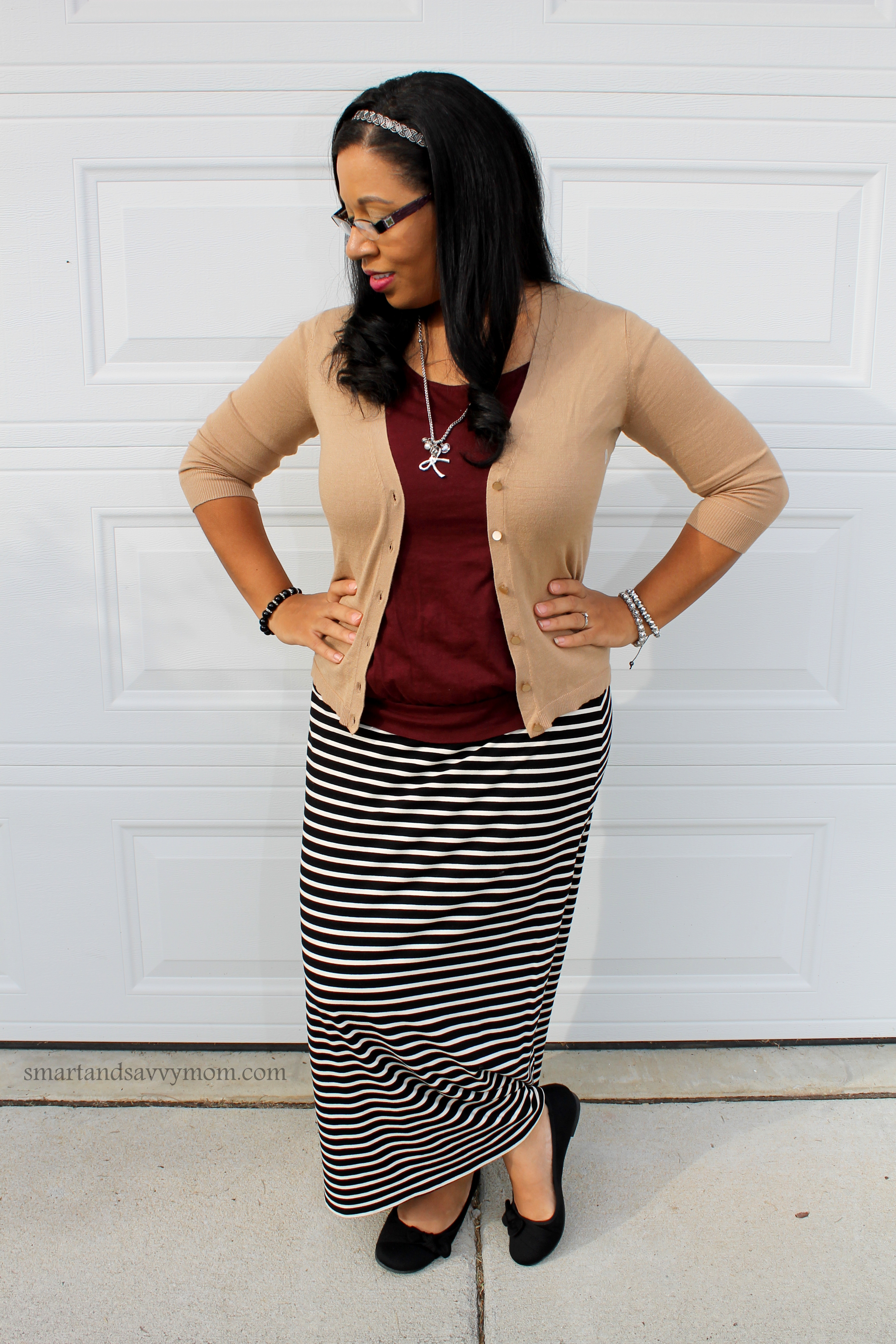 easy, simple black and white striped maxi with burgundy/maroon and camel cardigan