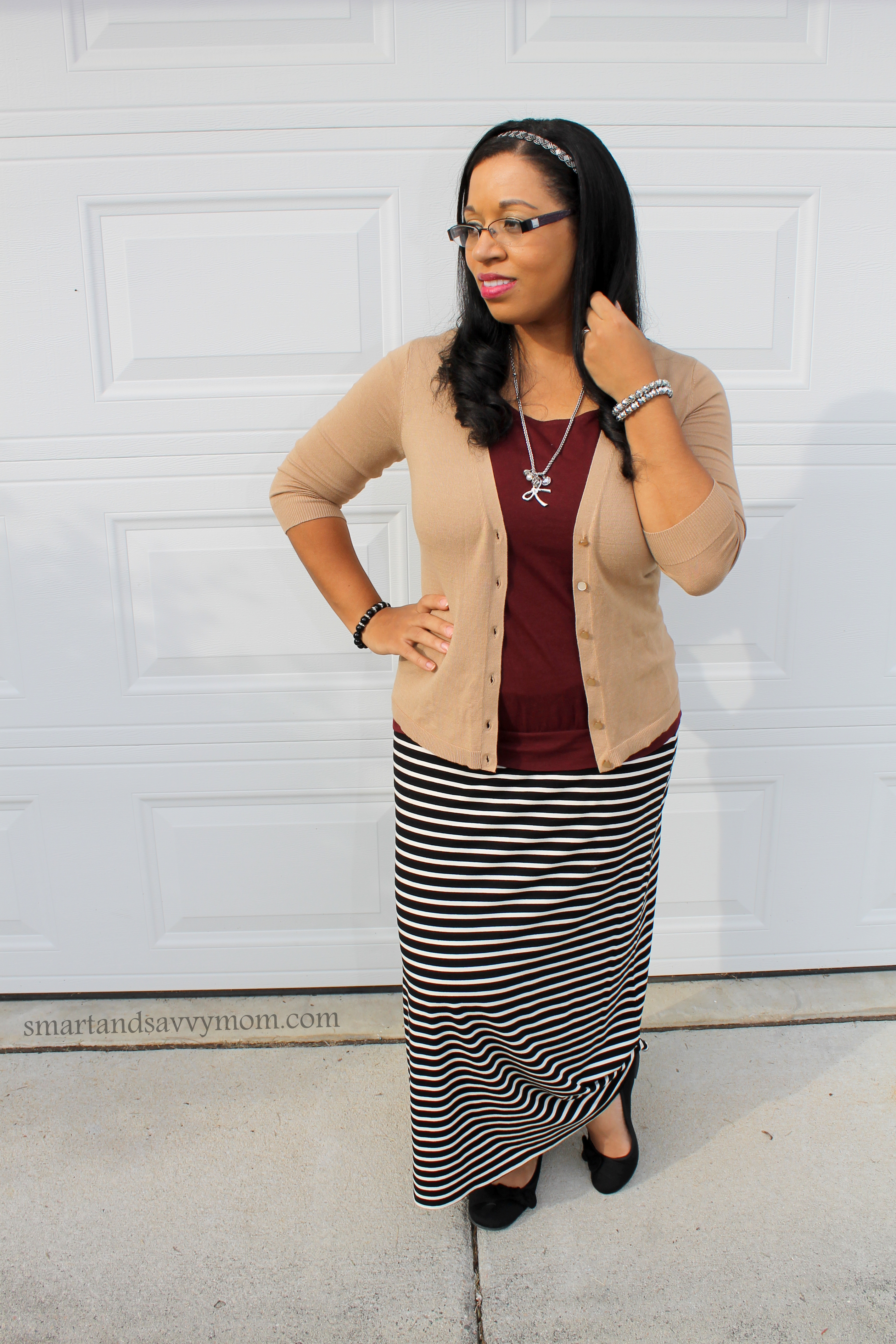 black and white striped maxi with burgundy/maroon and camel cardigan