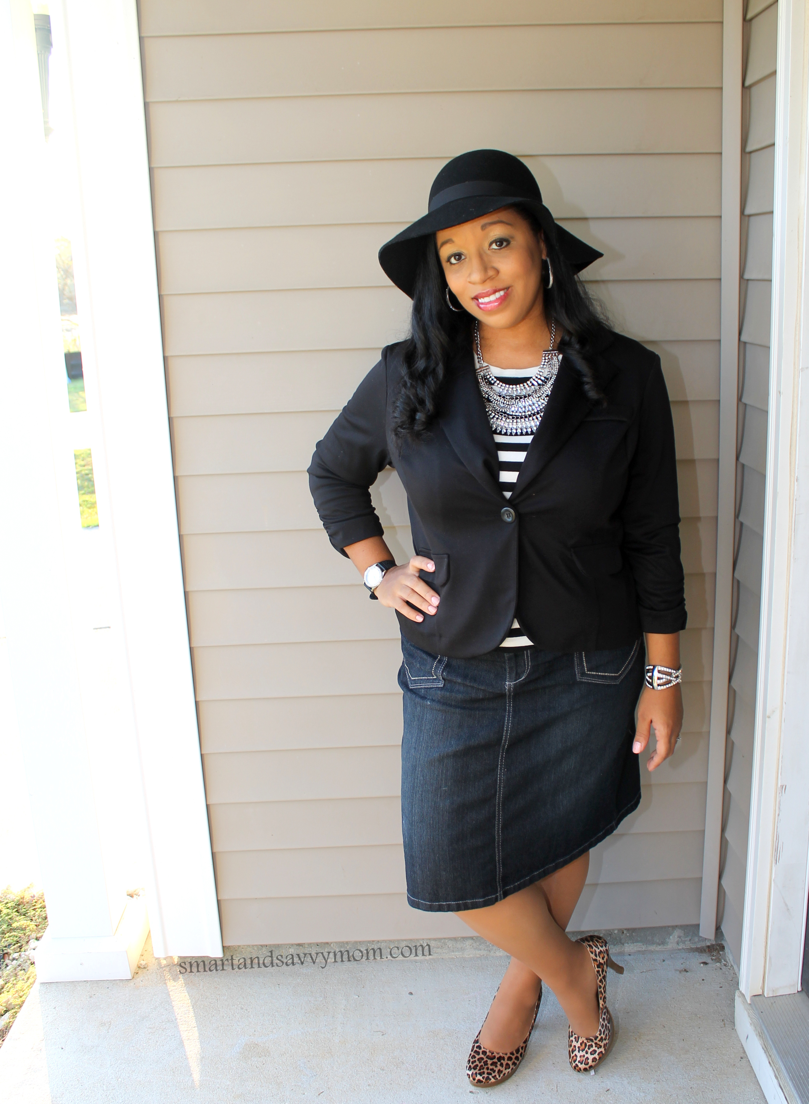 suede hat, striped tee, statement necklace and denim skirt, for an easy dressed up denim look, modest outfit