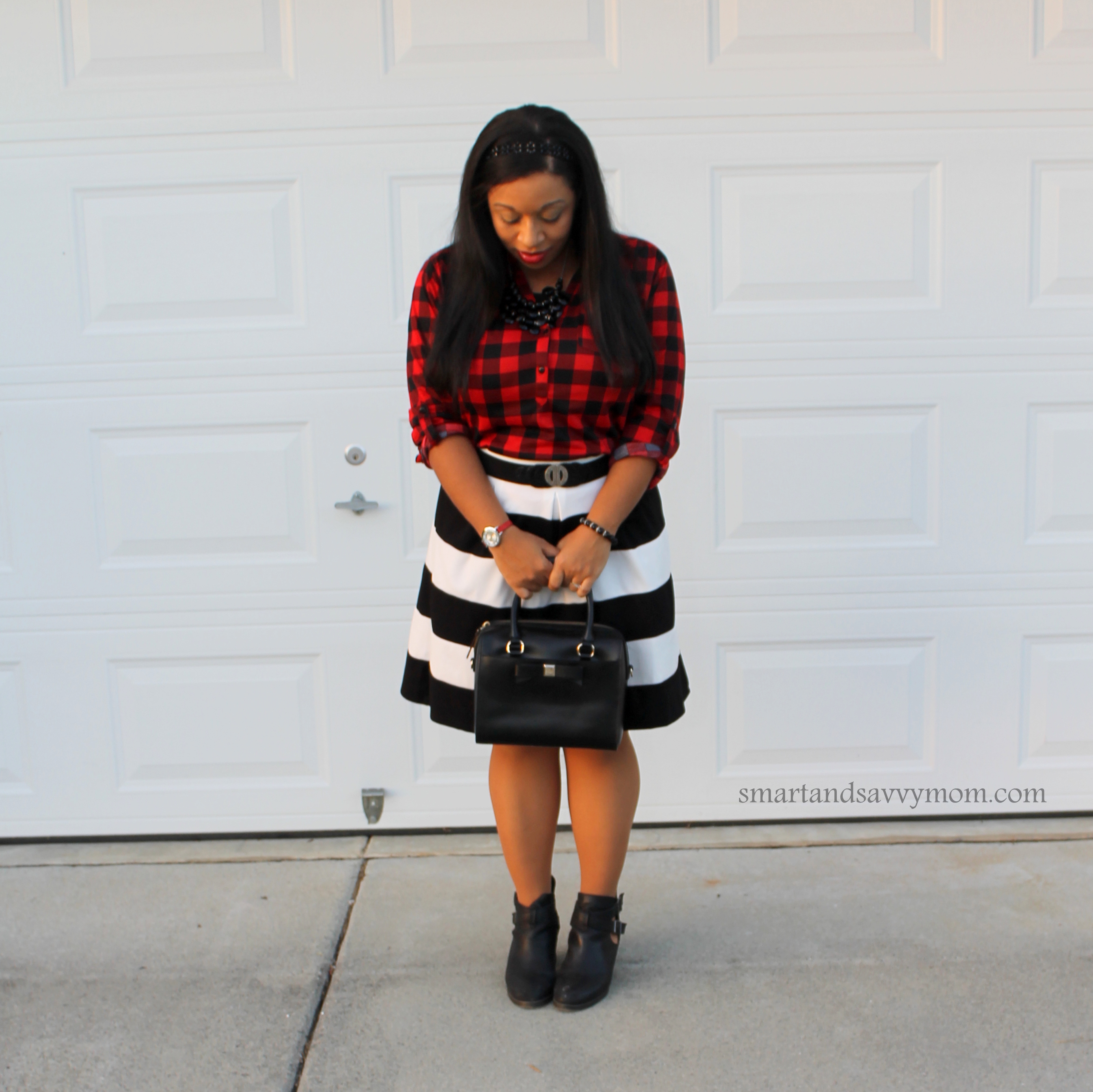 Kate spade, black and white stripes and red and black buffalo plaid outfit inspo