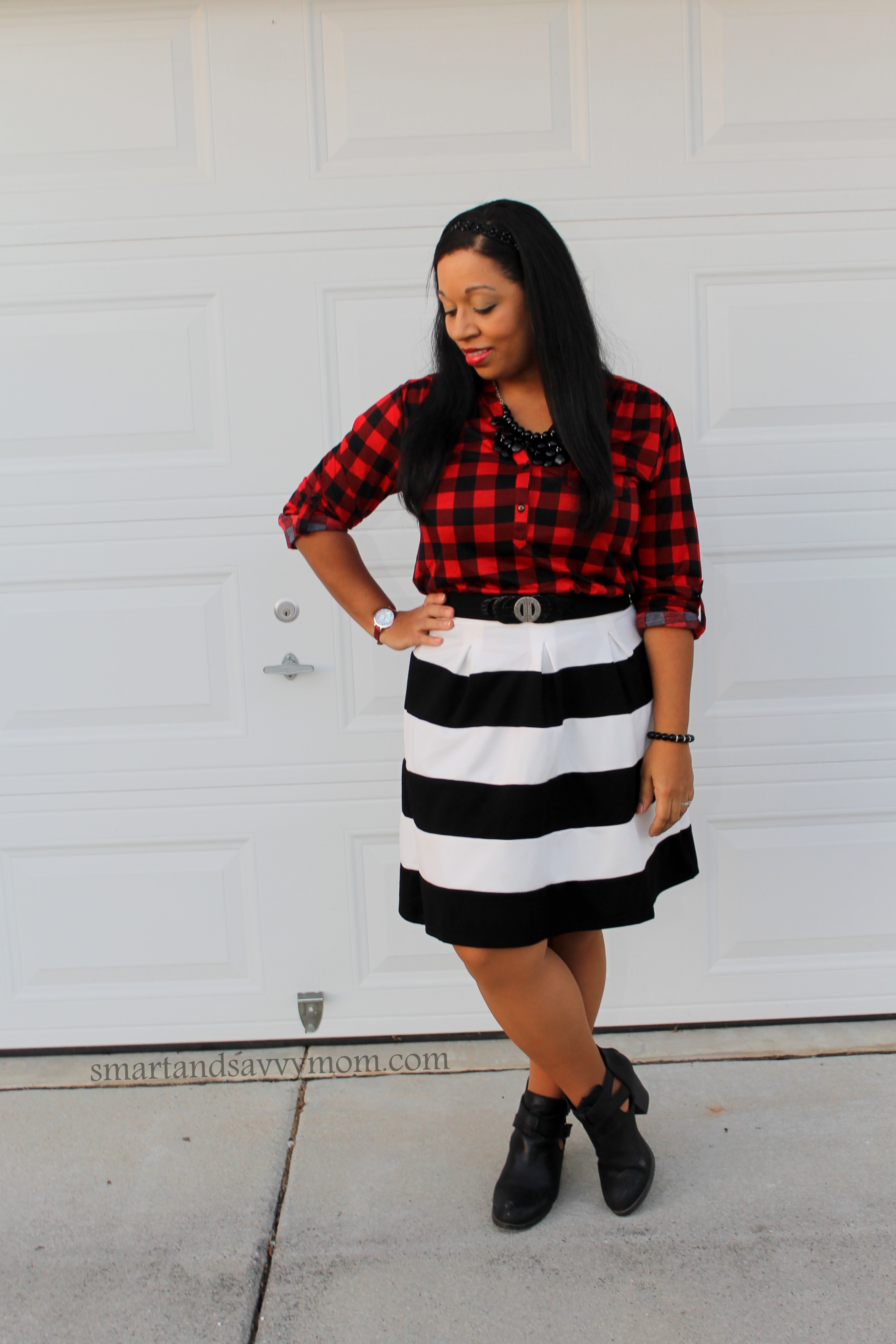 red and black buffalo plaid with black and white stripes, perfect pattern mixing and modest outfit idea