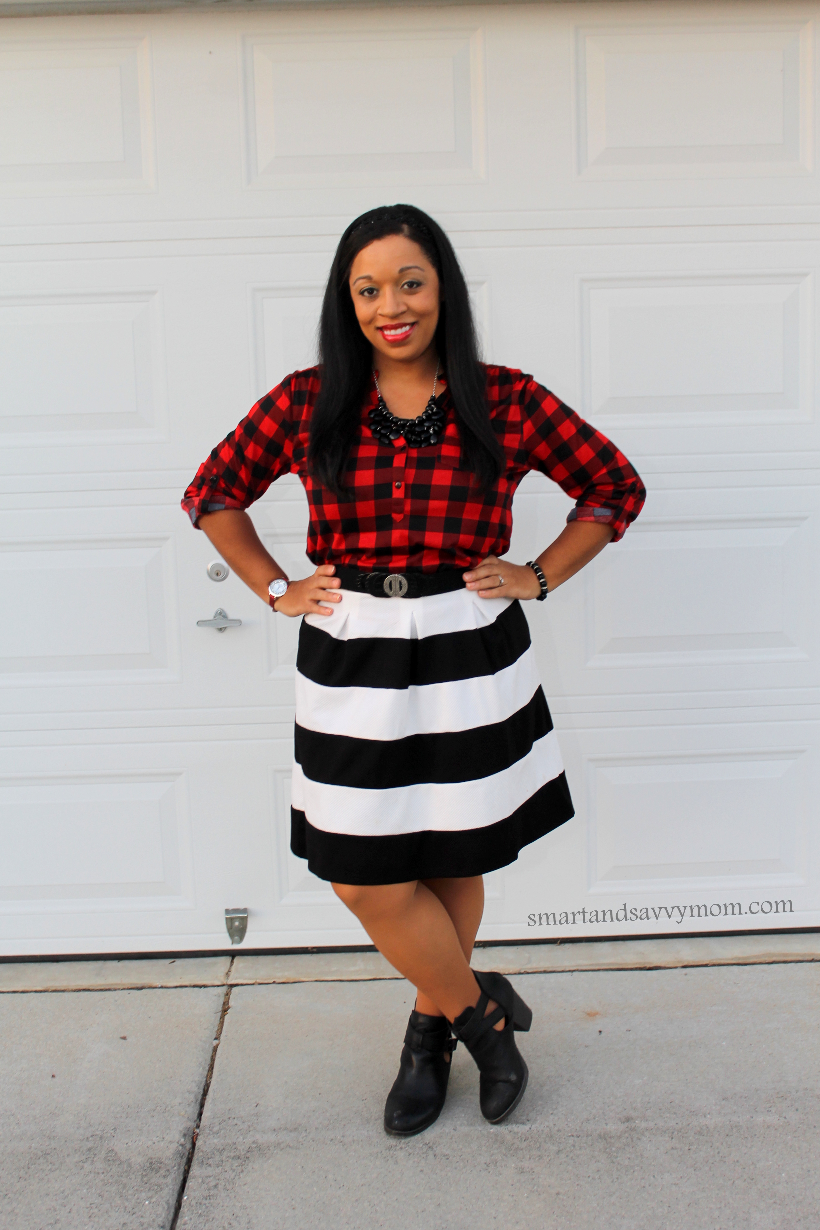 modest pattern mixing, striped a line skirt with red and black buffalo plaid