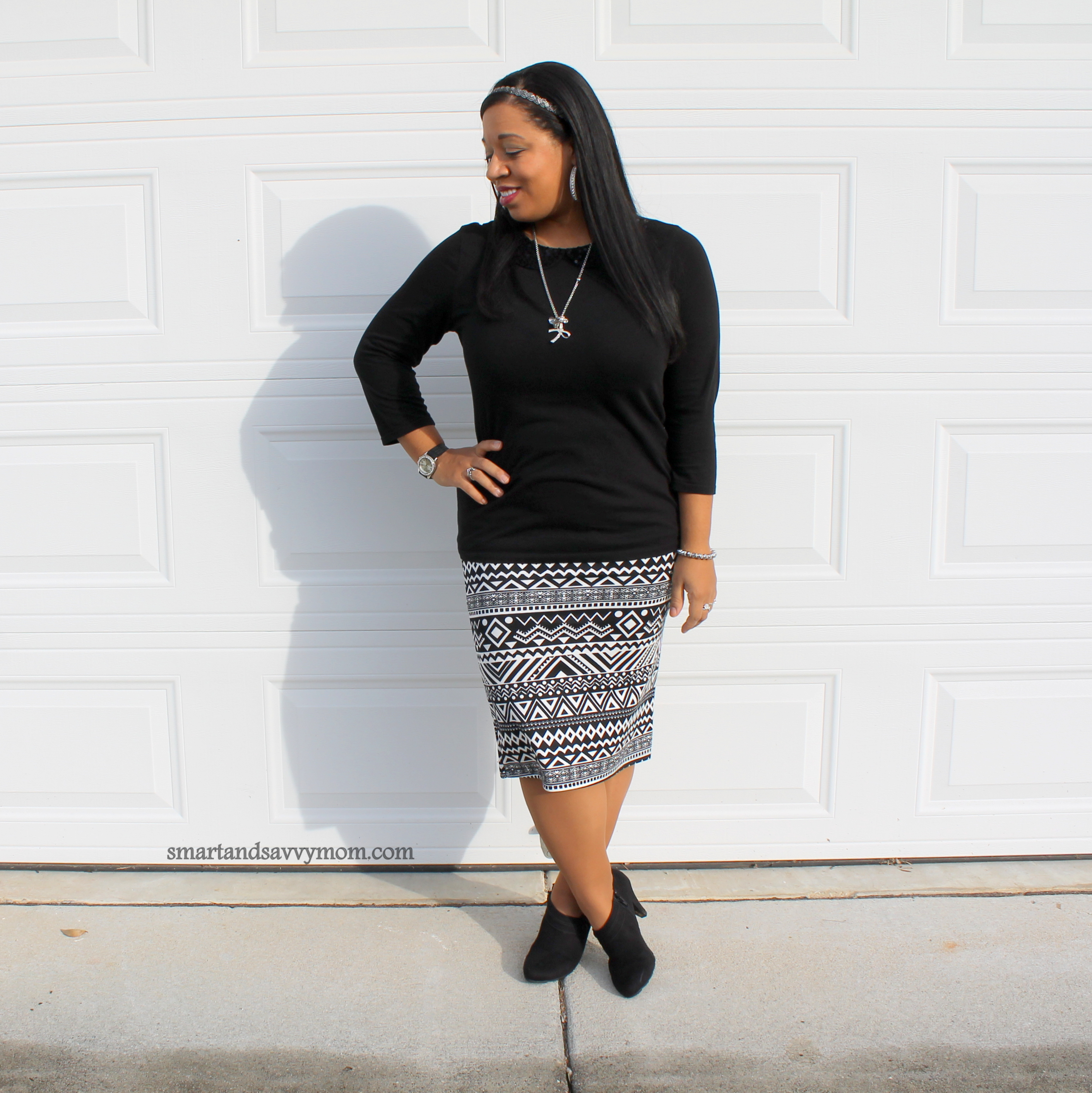 simple, easy modest outfit idea, black peter pan collar top with aztec black and white striped skirt