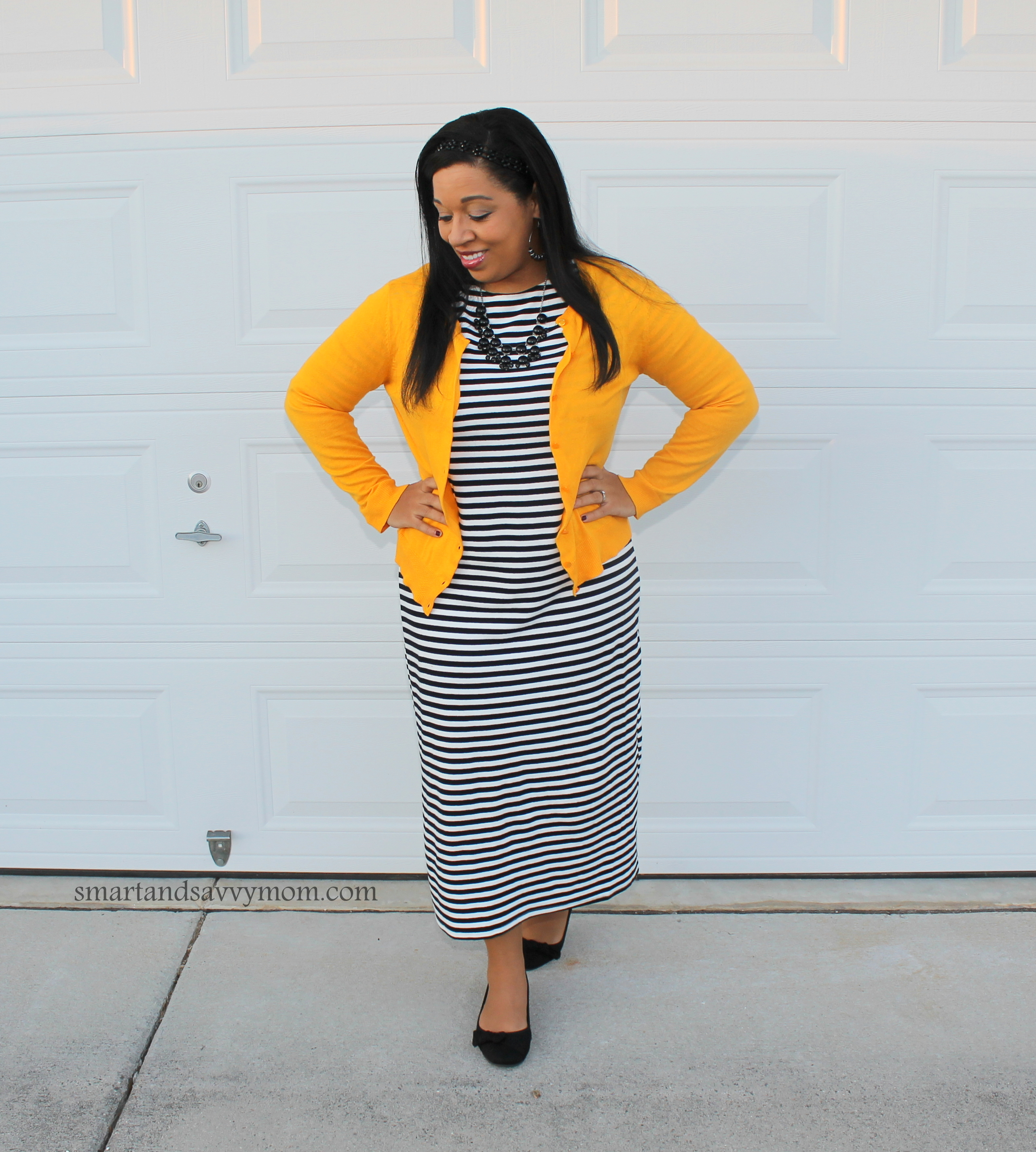 black and white striped midi dress with yellow cardigan modest dressidea