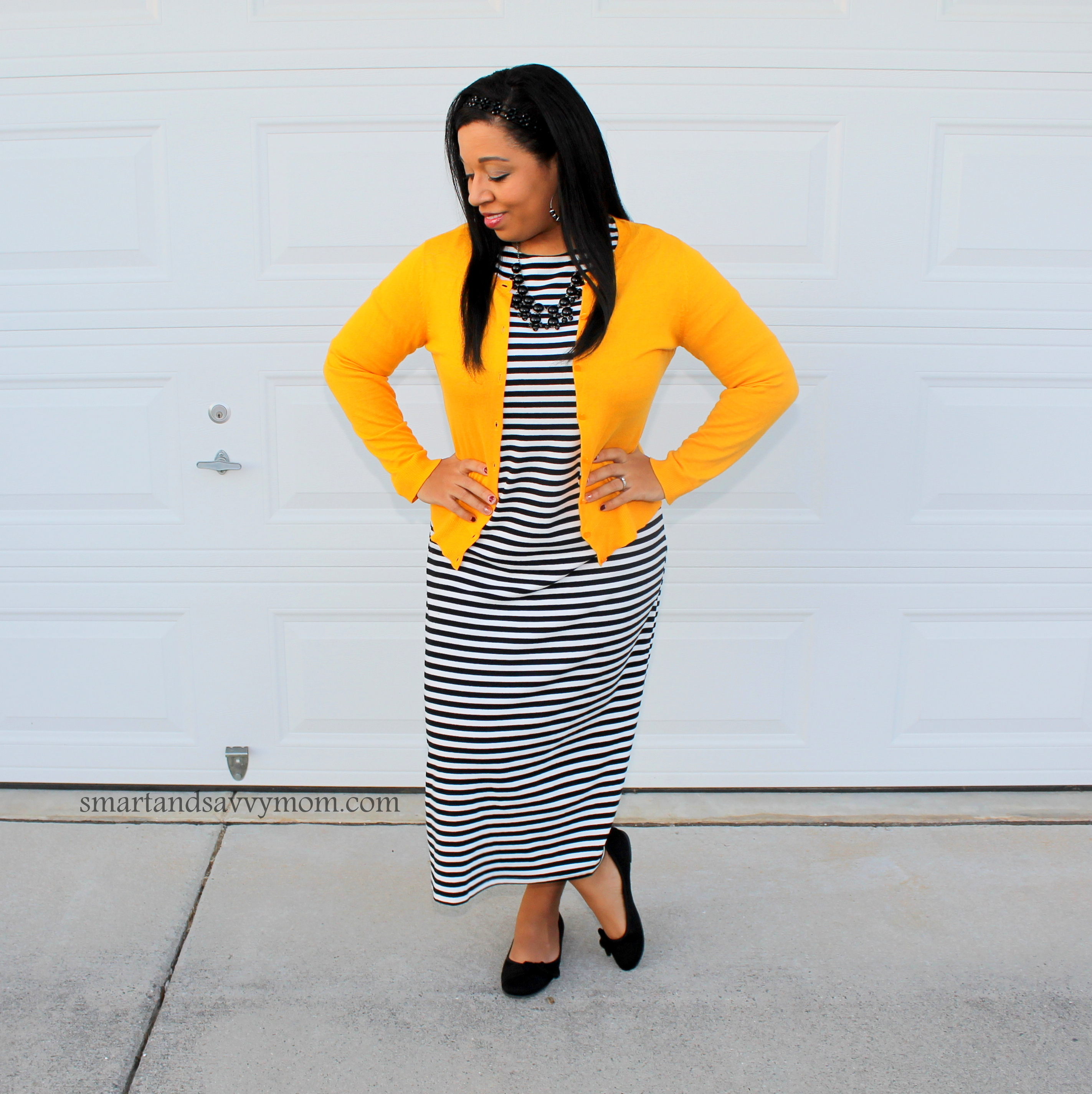 black and white striped midi dress with yellow cardigan modest outfit idea