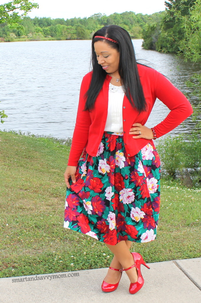 red and green floral print skirt. Vintage thrifted with white and red cardigan. modest fashion