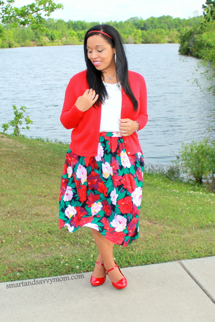 red and green floral print skirt. Vintage thrifted with white and red cardigan. modest outfit idea