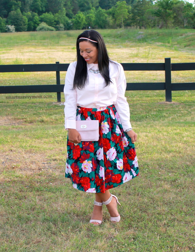 pink, green and red floral print vintage thrifted skirt with blush pink button up and ankle strap heels; modest spring outfit
