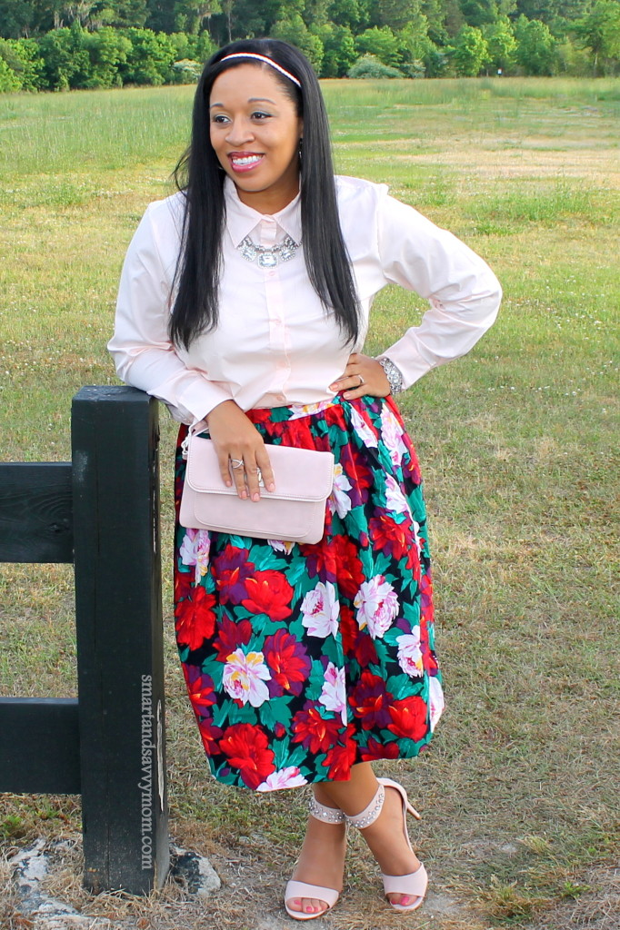 favorite style with this skirt. Blush pink button up with floral print skirt. Modest outfit idea
