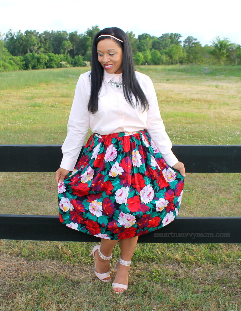pink, green and red floral print thrifted skirt with blush pink button up and ankle strap heels; modest spring outfit