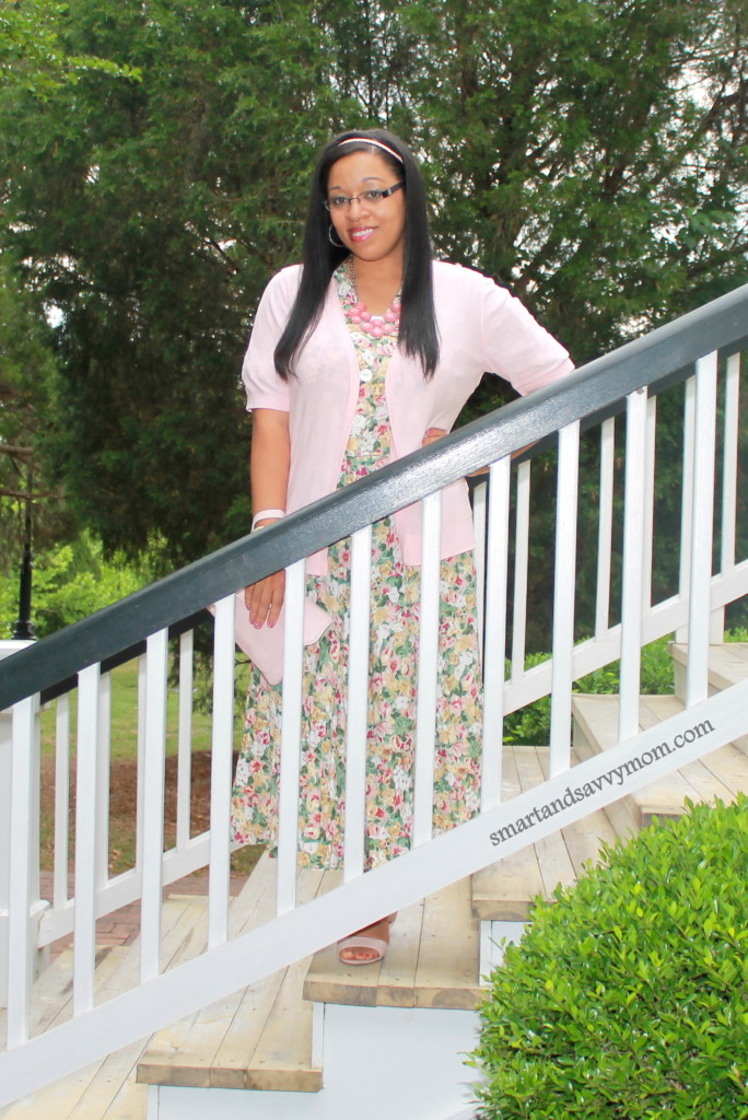 modest thrifted instagram shop, featuring this floral print dress styled with light summer pink sweater and shoes