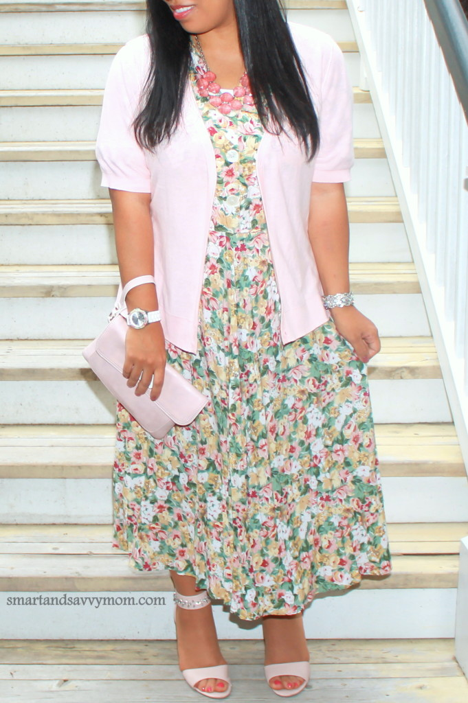 blush pink and vintage floral dress #thrifted