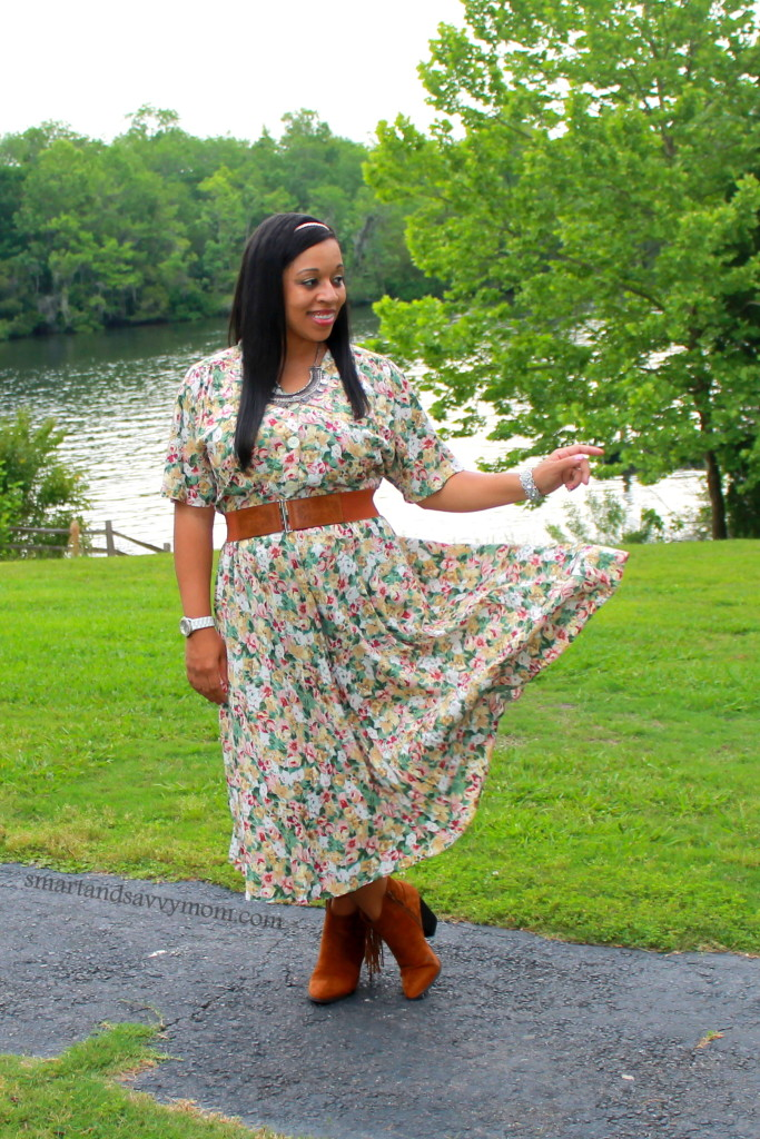 modest vintage floral dress, with cognac belt and cognac boots