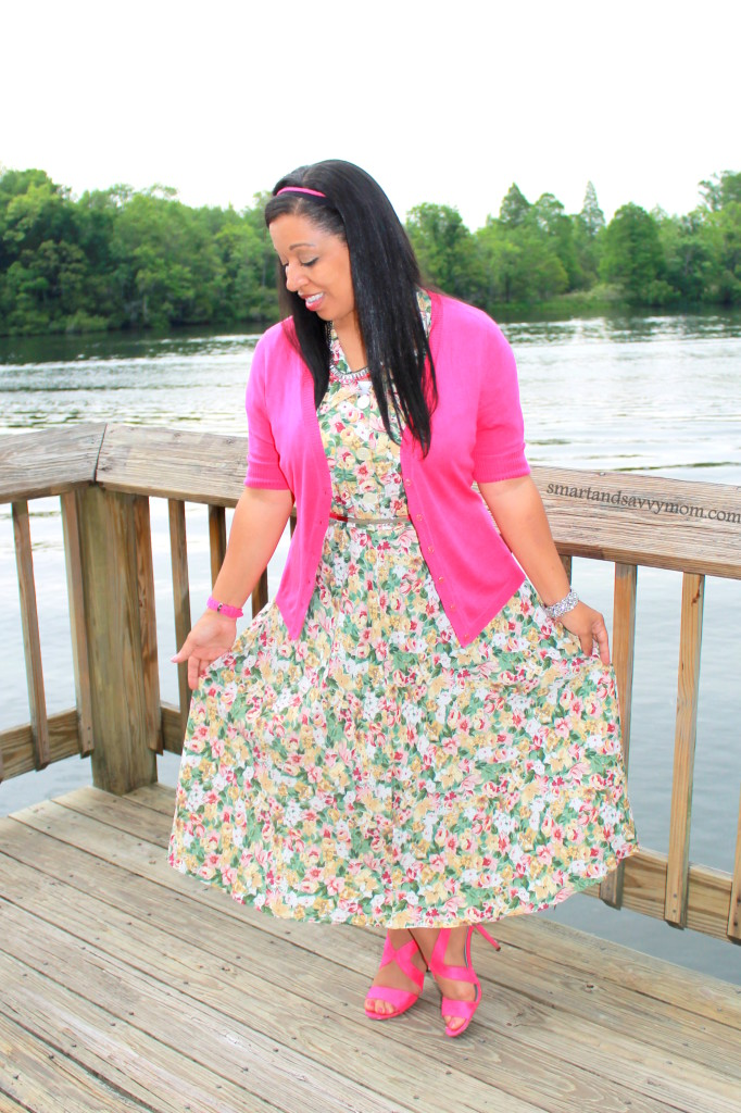 Vintage floral modest dress from Instagram shop. Modest style with hot pink cardigan and hot pink heels perfect for spring