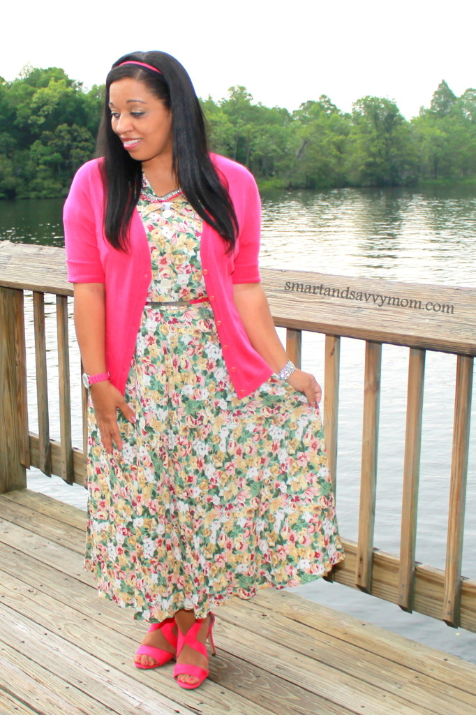 Vintage floral modest dress from Instagram shop. Modest style with hot pink cardigan and hot pink heels
