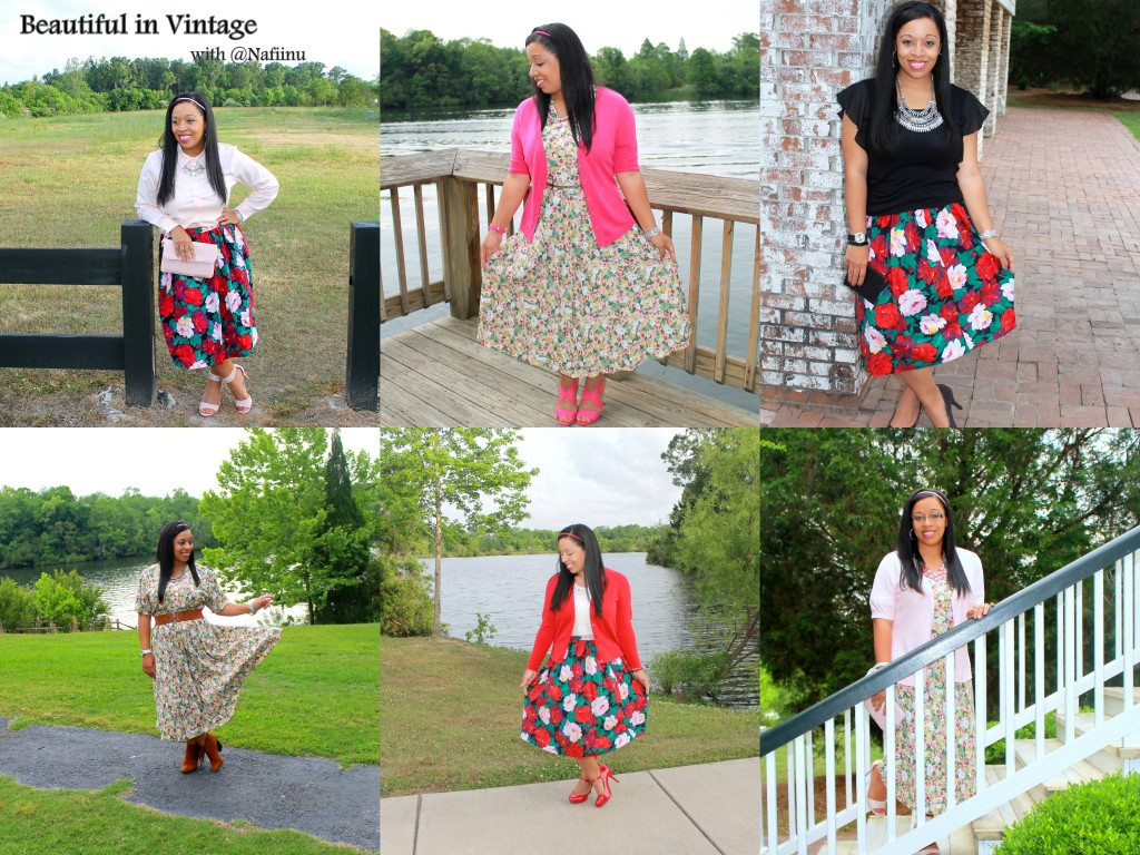 Modest vintage style with floral prints from @nafiinu