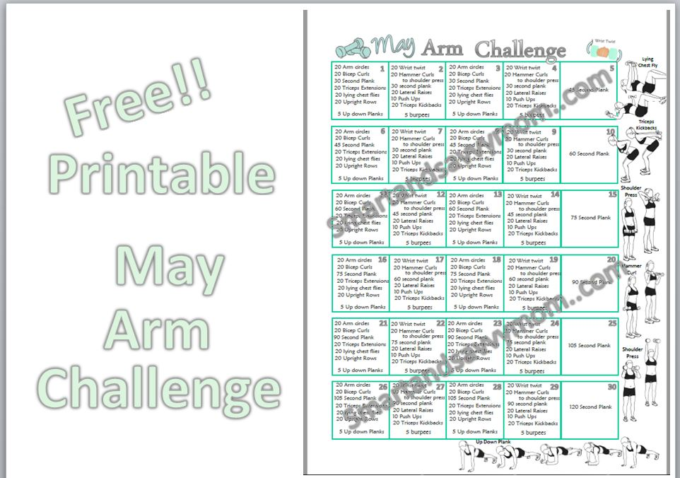 photograph relating to Printable Plank Challenge identify Could possibly Printable Arm Physical fitness Trouble Good and Savvy Mother
